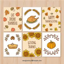 set of thanksgiving cards with drawings vector free
