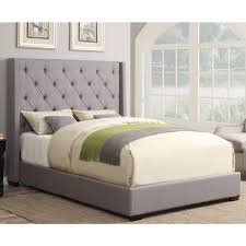 Roma Tufted Wingback Headboard Taupe Fullqueen by Memphis Faux Leather Upholstered Bed In Textured Pewter Humble Abode