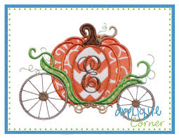 pumpkin carriage applique corner pumpkin carriage applique design