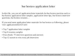 Sample Hostess Resume by Bar Hostess Application Letter