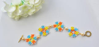 flower beaded bracelet images Pandahall tutorial on how to make a 2 hole seed bead flower jpg