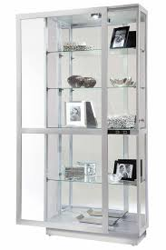 Curio Cabinet With Glass Doors 680576 Howard Miller Modern Silver Curio Cabinet