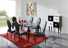 Black Leather Chairs And Dining Table Dining Room 5 Piece Black Dining Room Set With Marble Top Dining