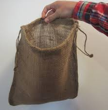 one burlap bag 12 x 14 with drawstring sack gunny feed bag tow