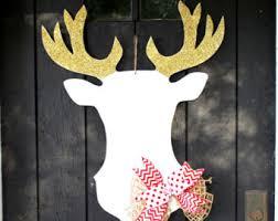 Christmas Decorated Deer Head by Christmas Decor Christmas Door Decoration Santa Door Hanger