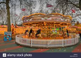 hyde park winter a spinning carousel or merry go