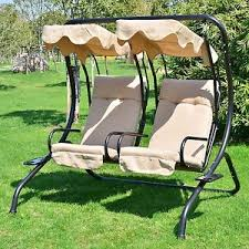 outdoor patio 2 person covered swing chair seat porch loveseat