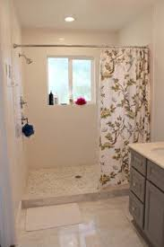 Bathrooms With Shower Curtains Walk In Standing Shower With Shower Curtain Instead Of Glass Door