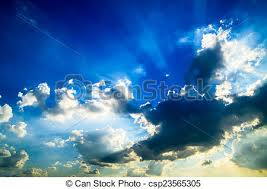 beautiful blue sky with clouds and sun rays stock photography