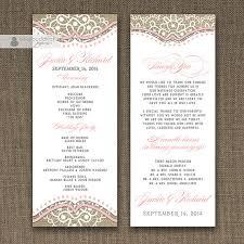 sided wedding programs blush pink lace burlap wedding program sided 4x10 shabby