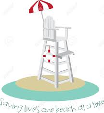 tall lifeguard chair with a red and white umbrella royalty free
