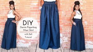 denim maxi skirt diy denim paperbag maxi skirt with belt part 1