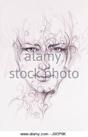 mystic man face and ornament pencil drawing on old paper stock