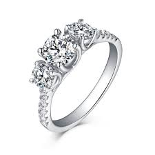 three stone engagement rings round cut 925 sterling silver white sapphire three stone