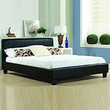4ft6 italian designer faux leather double mallorca bed frame in
