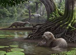 clipart of a retro vintage black and white jack the giant killer 6 otter with unusually strong bite lived 6 million years ago daily