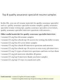 quality assurance resume software quality assurance resume quality assurance resumes top 8