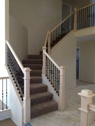 basement stairs with iron balusters white posts google search
