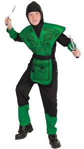 Ninja Halloween Costume Kids Ninja Fighter Boys Costume Green Ninja Warrior Kids Fancy Dress