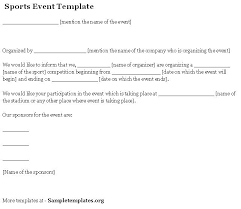 event template for sports template of sports event sample templates