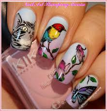 nail art stamping mania cat and bird manicure with moyra plate