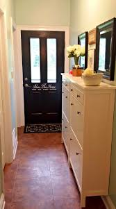 ikea hemnes shoe cabinet in a hallway before and after entry