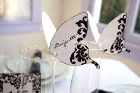 printable name place cards damask butterfly place cards black print as many as you need