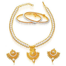necklace pearl set images Buy surat diamond 24kt gold plated pendant real pearl set sp124 jpg