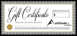 gift certificates gift certificates attitude salon