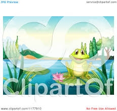 cartoon of a happy frog on a pond lily pad royalty free vector