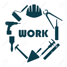 flat design round logo with house repair icons royalty free