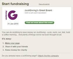 how to set up a page for a company event justgiving help