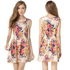 2016 newest design sleeveless women summer dresses floral print