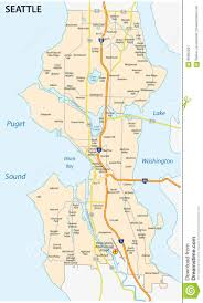 Seattle Washington Map by Seattle Road And Neighborhood Map Stock Illustration Image 66665207
