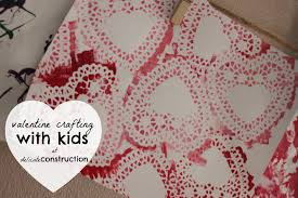 valentine crafting with kids delicate construction