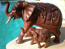 Home Sculpture Decor Extra Large Elephant Home Decor Made From Dark Wooden Sculpture