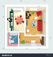 modern detailed floor plan apartment kitchen stock vector