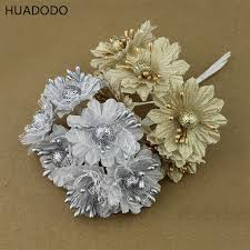 bouquet for wedding huadodo 6pcs golden silver glitter artificial silk flower bouquet