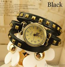 vintage bracelet watches images Studded leather vintage bronze bracelet watch black bracelet jpg