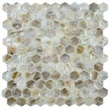 of pearl seashell mosaic hexagon