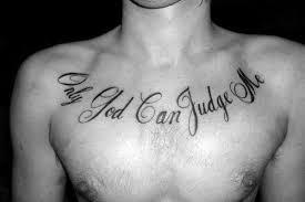 cursive black ink script only god can judge me chest