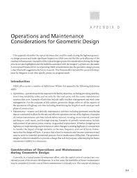 appendix d operations and maintenance considerations for