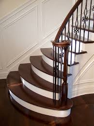 gorgeous wrought iron balluster stairs with painted treads and