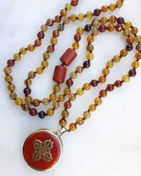 beads jewelry necklace images Carnelian mala necklace with a two sided om and double dorje jpg