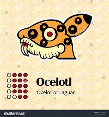 aztec calendar symbols ocelotl jaguar 14 stock vector 111220466