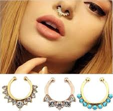sale nose rings images 2018 hot sale crystal fake septum nose rings piercing clip on body jpg