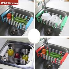 Kitchen Sink Tray Stainless Steel Scalable Telescopic Kitchen Sink Dish Rack Insert