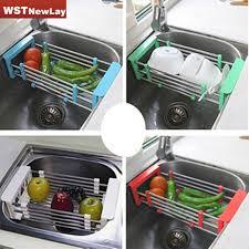 Kitchen Sink Dish Rack Stainless Steel Scalable Telescopic Kitchen Sink Dish Rack Insert