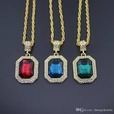 green stone necklace pendant images Wholesale red blue green stone hip hop 18k gold color pendant jpg