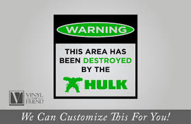 warning this area has been destroyed by the hulk super hero wall